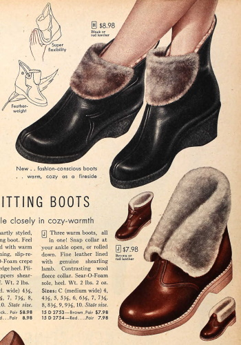 1955 fold down boots snow boots winter boots women 1950s
