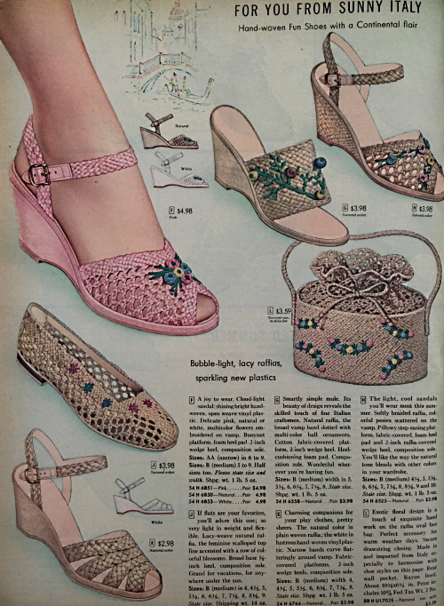 1956 raffia straw sandals