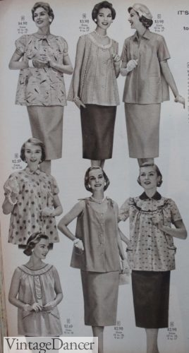 1950s maternity clothes- smock tops and skirts