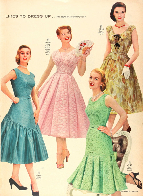 1956 spring party dresses