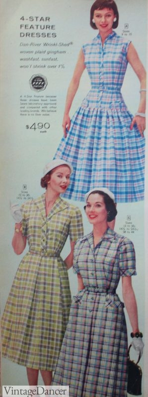 1950s house dresses, plaid shirtwaist dresses in spring colors