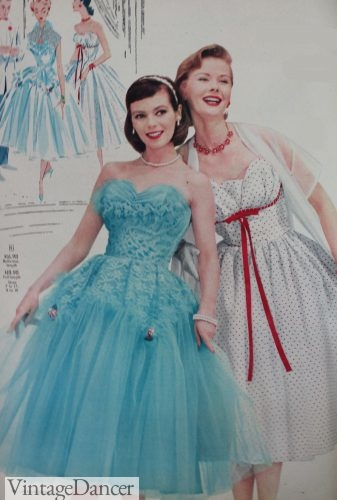 1956 teal blue and white/red dot prom dresses at VintageDancer