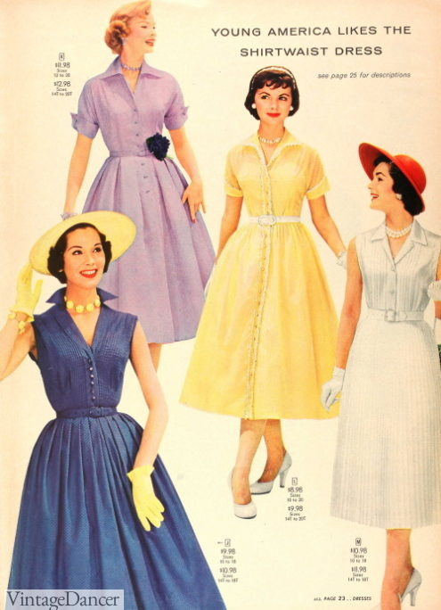 1956 shirtwaist dresses that could go from house to public with accessories