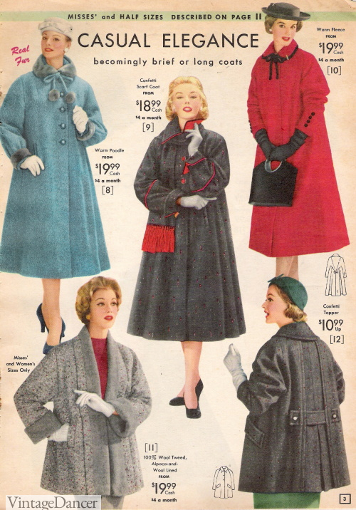 1957 Long Full Winter Coats and Half Coats with Matching Accessories