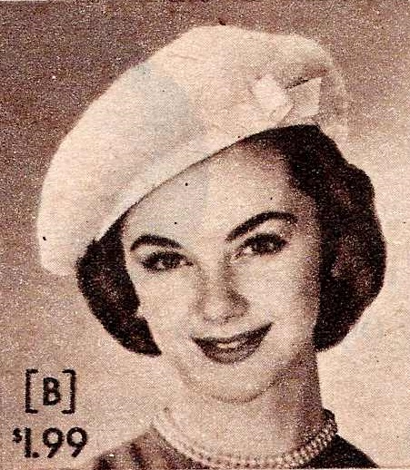 1957 Fuzzy Beret with Bow Hat