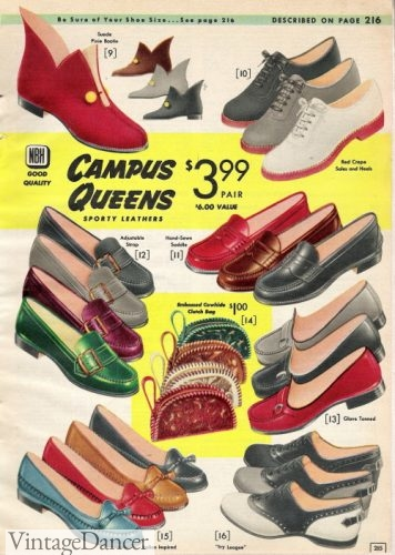 1957 loafers, saddle shoes