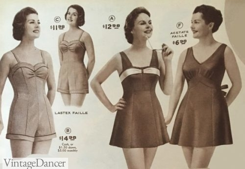 1950s plus size swimsuits. swim dress and baby doll bathing suits