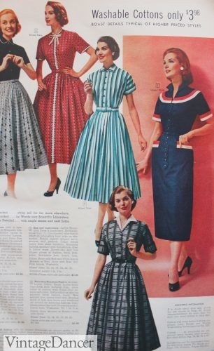 1957, various collar treatments, prints and patterns create diversity in 1950s dress styles. VintageDancer.com