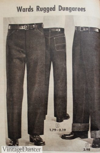 1957 Men's jeans and western cut jeans (slightly narrower with contrast stitching)