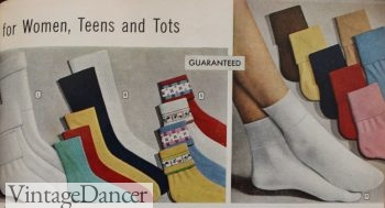 brightly colored Ward's advertisement for a selection of women's and girls' socks at VintageDancer
