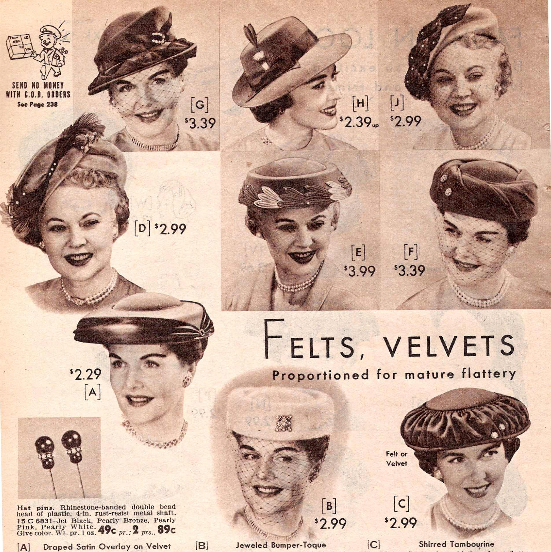 1950s Women's Hat Styles & History