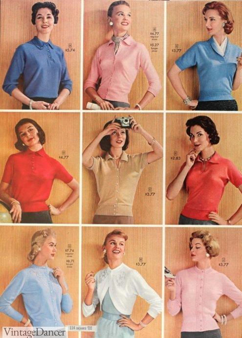 1957 knit shirts, sweaters, shrug