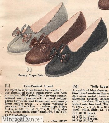 1950s twin peak slip on shoes. The bunnies style for women. 1957