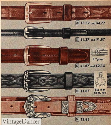1957 men's thin belts - all 1 inch or less