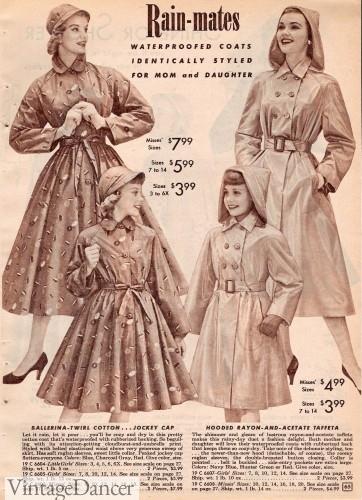 1950s rain coat jacket women girls kids