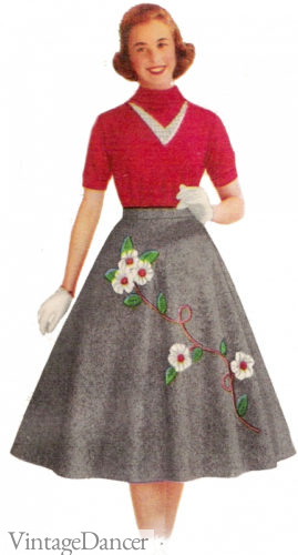 1957 Teen in a felt skirt and knit top