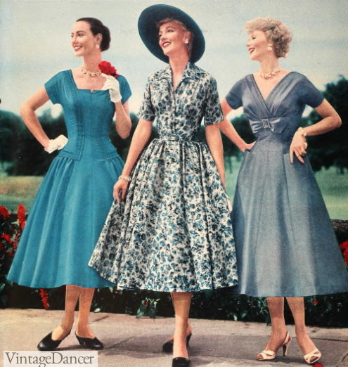 1957 spring fashions dresses in color women clothing 50s fashion history trends