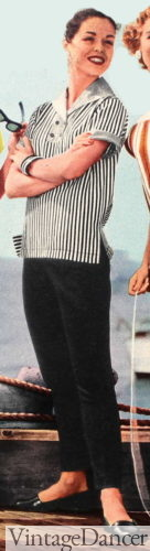 1957 black capris and a striped top