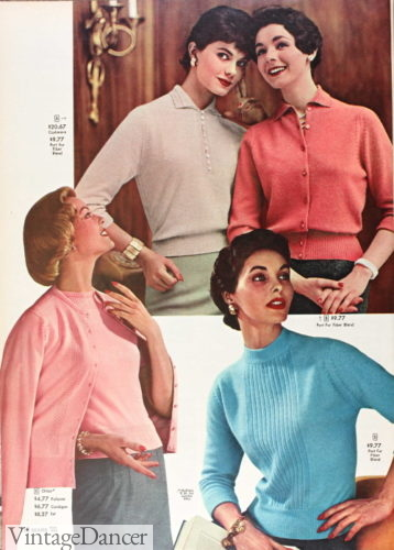 1957 sweater twin set and 3/4 length knitwear