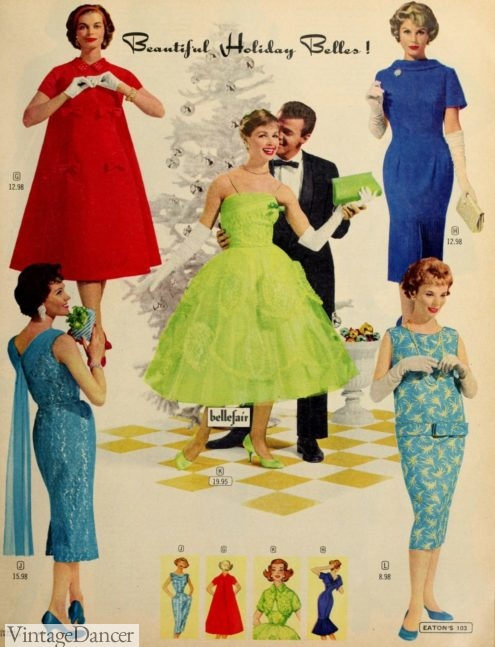 1958 cocktail party and evening dresses 1950s