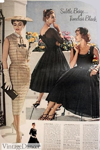 1958 black cocktail dresses and gold sheath party dress