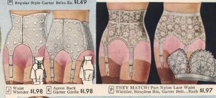 1958 lace garter belts with tunny support