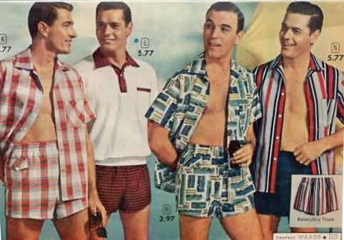 1958 men's swim shorts and shirts
