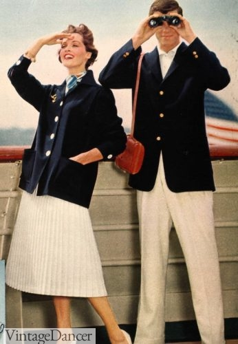 """1958 """"yacht"""" look of navy blazer nd white trousers"""
