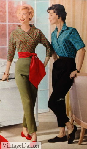 1958 olive and black pants with red sash
