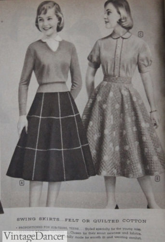 1958 felt windowpane and quilted cotton skirts for teenager girls with sweater and peter pan collar blouse
