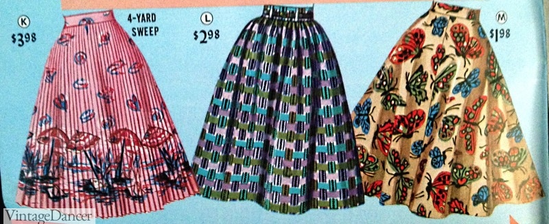 1950s skirts. 1958 Full Circle Skirts- Pleated, Gathered and Circle Skirt Styles. See more at VintageDancer.com