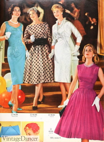 1959 wiggle pencil or swing party dresses