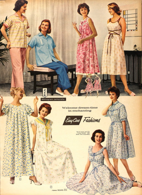 1959 sleepwear 1950s nightgowns pajamas
