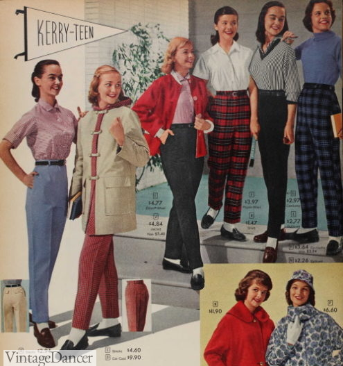 1959 teens pants outfits 1950s pants women girls teenagers