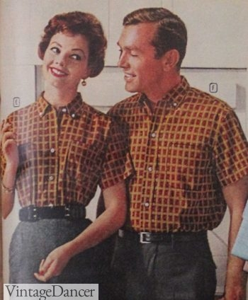 1960 matching plaid shirts