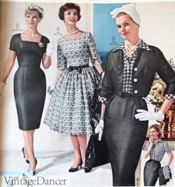 1960, little black sheath dresses or silver damask swing dress- semi formal style!