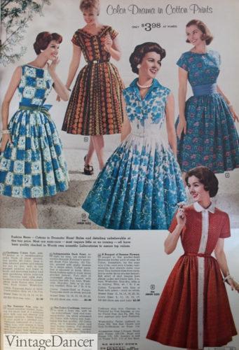 1960 cotton swing dresses