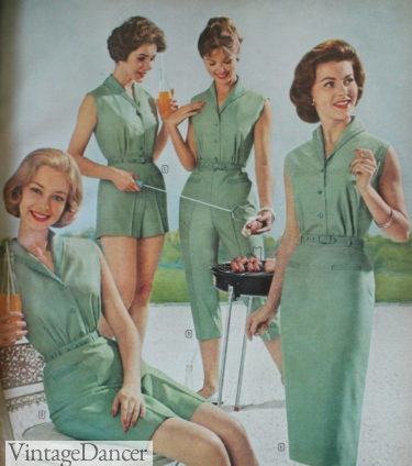 1960 green playsuits, casual, sporty looks