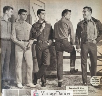 1960 mens Workwear- western pants, shirts and blue jeans