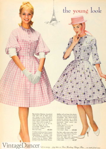 Vintage 60s 1960s swing dress baby toddler girl kitten cat pink gingham