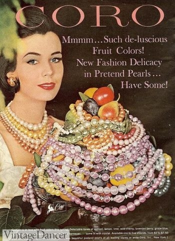 Early 1960s jewelry ad by Coro. Beautiful pearl necklaces in pastel colors.