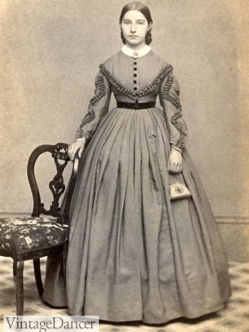 1860s woman with hard sided purse
