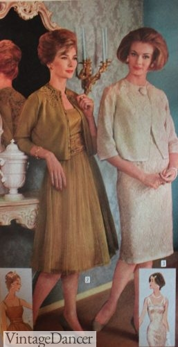 1961 Lace or tulle cocktail dresses with crop jackets