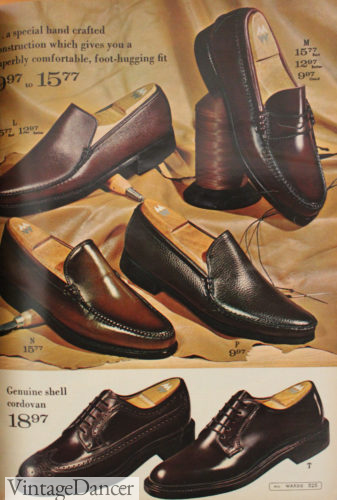 1960 mens dark brown loafers and oxfords