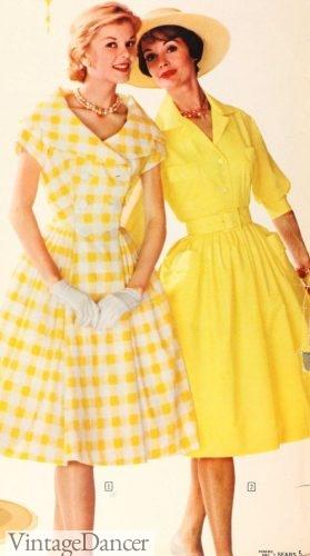 1960 portrait collar check and classic collar swing dresses