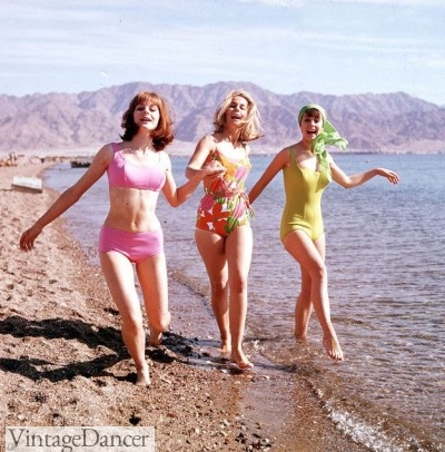 1960s swimsuits at the beach