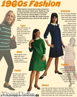 1960s fashion for women. How to create the look with vintage inspired 1960s style dresses, shoes and accessories at VintageDancer.com/1960s