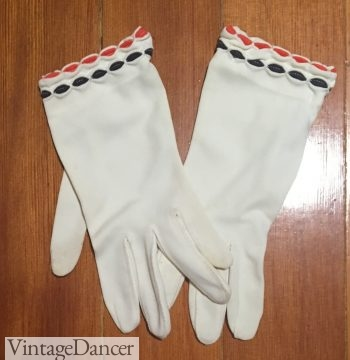 My 1960s mod gloves with red and blue trim