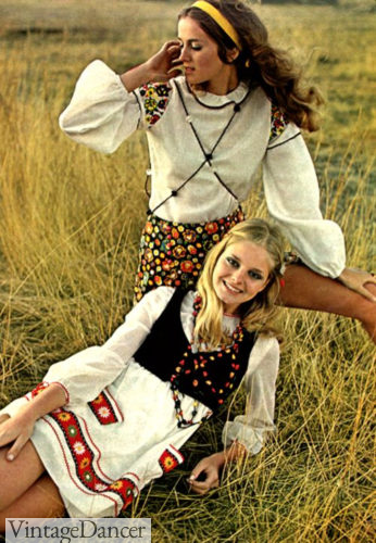 60s hippie fashion , Flower children in homemade peasantry at VintageDancer