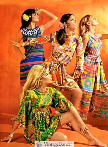 (1968) Short dresses with bright patterns, a fitted bodice, and movement at the hem took off in the fashion industry.